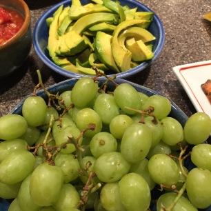 avocado and grapes