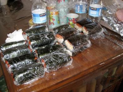 Post-Tgiving hot dog and Spam musubi on Maui.