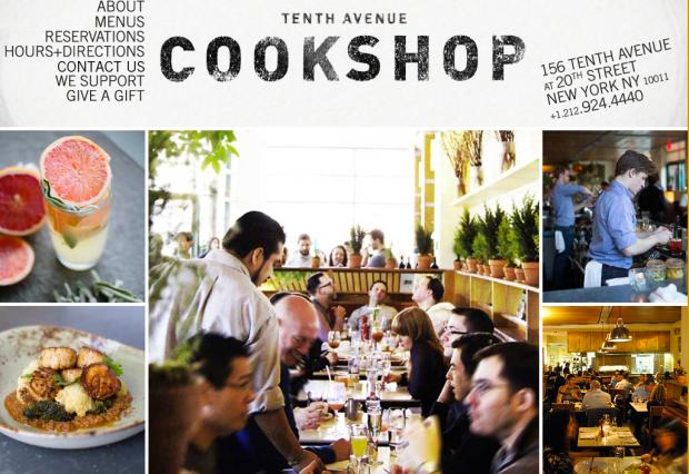 Cookshop web page
