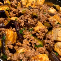 Eggplant, Tofu, and Ground Pork Stir Fry