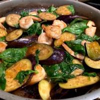 Thai Cooking:  Shrimp, Eggplant, Basil Stir Fry